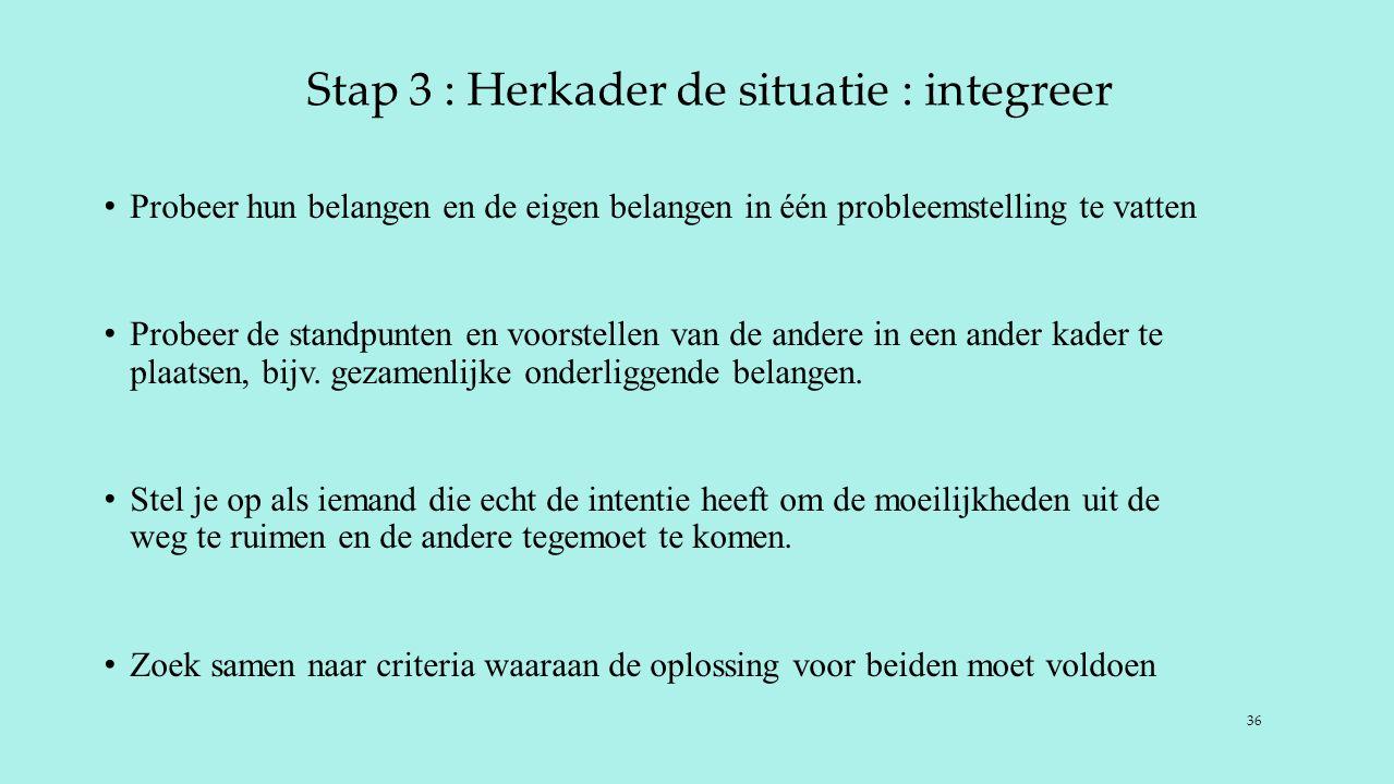 Stap 3 : Herkader de situatie : integreer Probeer hun belangen en de eigen belangen in één probleemstelling te vatten Probeer de standpunten en voorstellen van de andere in een ander kader te plaatsen, bijv.