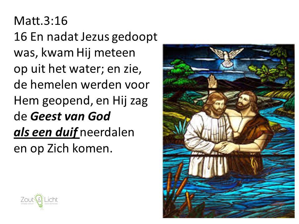 17 Matt.3:16 16 En nadat Jezus gedoopt was, kwam Hij meteen op uit het water; en zie, de hemelen werden voor Hem geopend, en Hij zag de Geest van God als een duif neerdalen en op Zich komen.