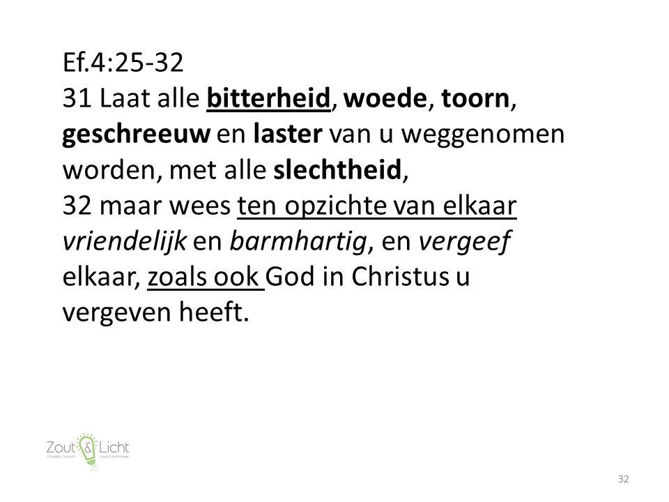 32 Ef.4:25-32 31 Laat alle bitterheid, woede, toorn, geschreeuw en laster van u weggenomen worden, met alle slechtheid, 32 maar wees ten opzichte van