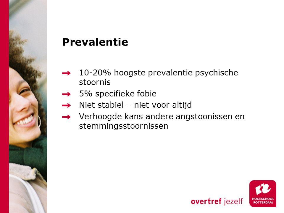 Prevalentie 10-20% hoogste prevalentie psychische stoornis 5% specifieke fobie Niet stabiel – niet voor altijd Verhoogde kans andere angstoonissen en