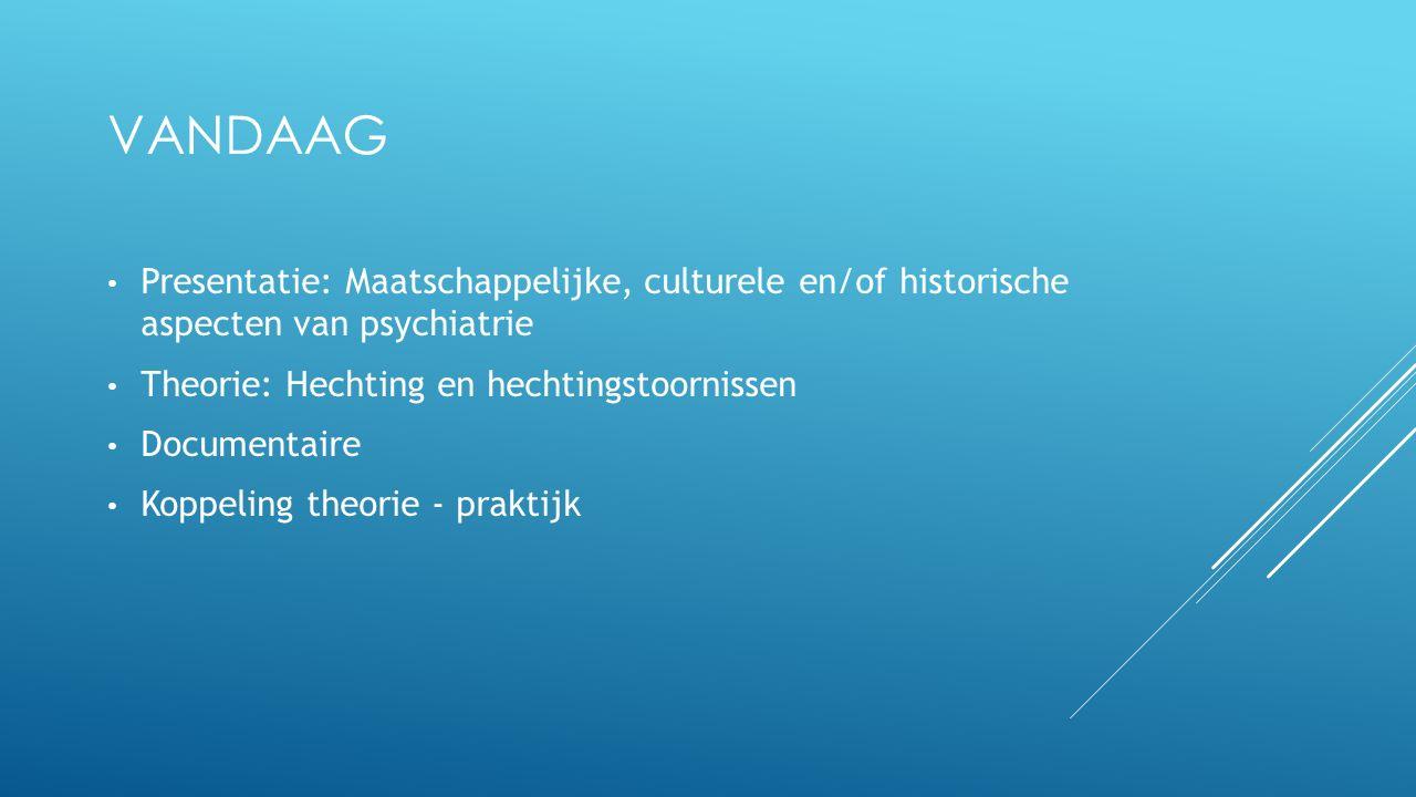 VANDAAG Presentatie: Maatschappelijke, culturele en/of historische aspecten van psychiatrie Theorie: Hechting en hechtingstoornissen Documentaire Kopp