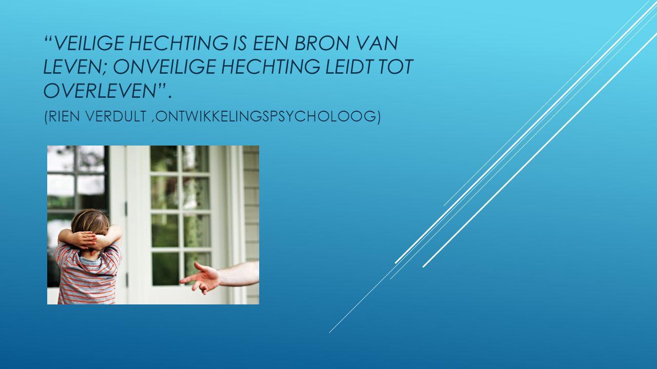 """""""VEILIGE HECHTING IS EEN BRON VAN LEVEN; ONVEILIGE HECHTING LEIDT TOT OVERLEVEN"""". (RIEN VERDULT,ONTWIKKELINGSPSYCHOLOOG)"""