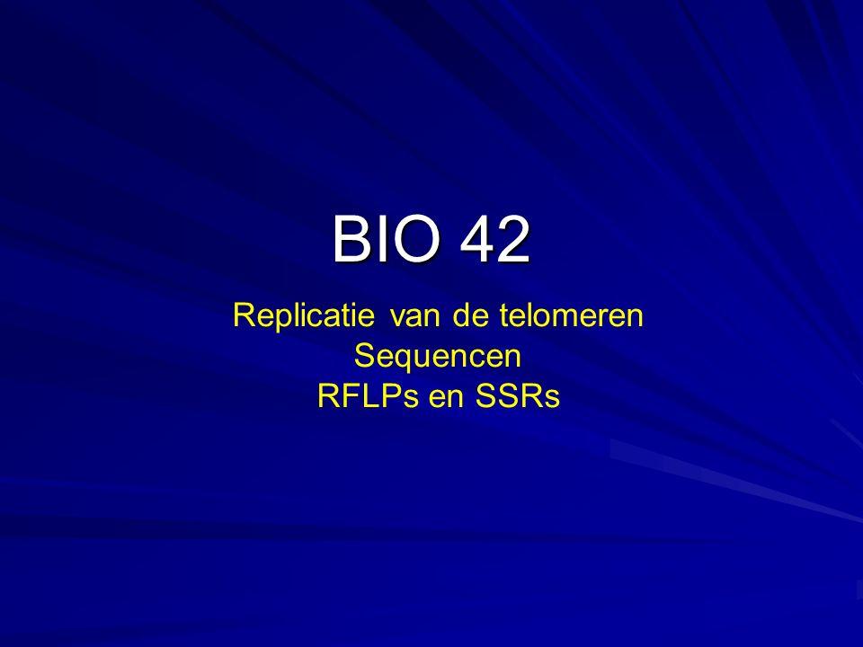BIO 42 Replicatie van de telomeren Sequencen RFLPs en SSRs