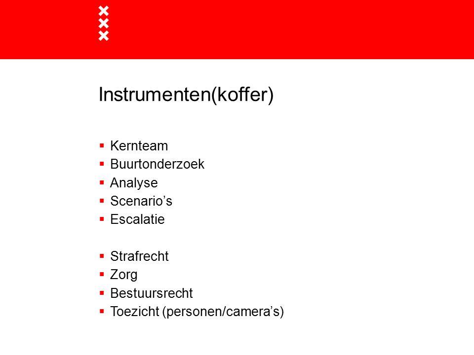 Instrumenten(koffer)  Kernteam  Buurtonderzoek  Analyse  Scenario's  Escalatie  Strafrecht  Zorg  Bestuursrecht  Toezicht (personen/camera's)