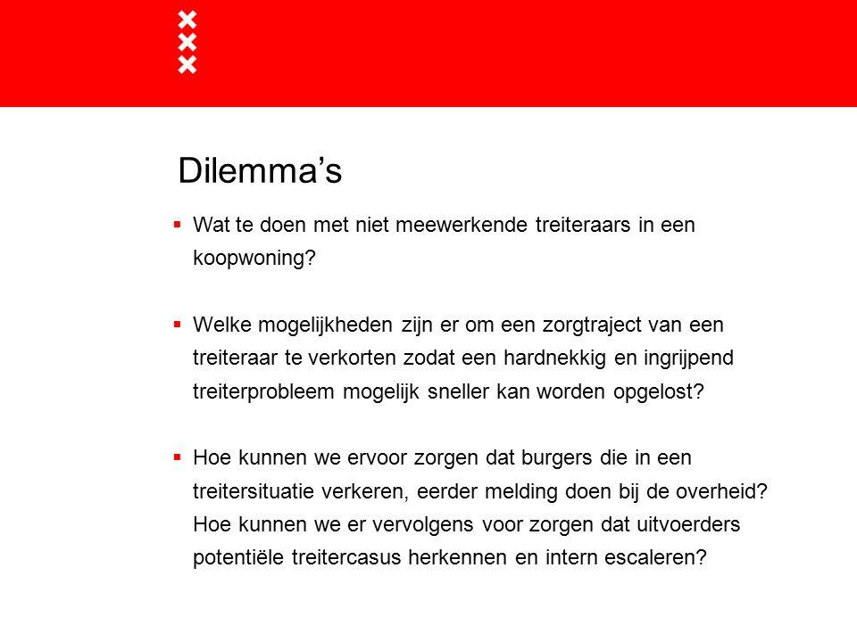 Dilemma's  Wat te doen met niet meewerkende treiteraars in een koopwoning?  Welke mogelijkheden zijn er om een zorgtraject van een treiteraar te ver