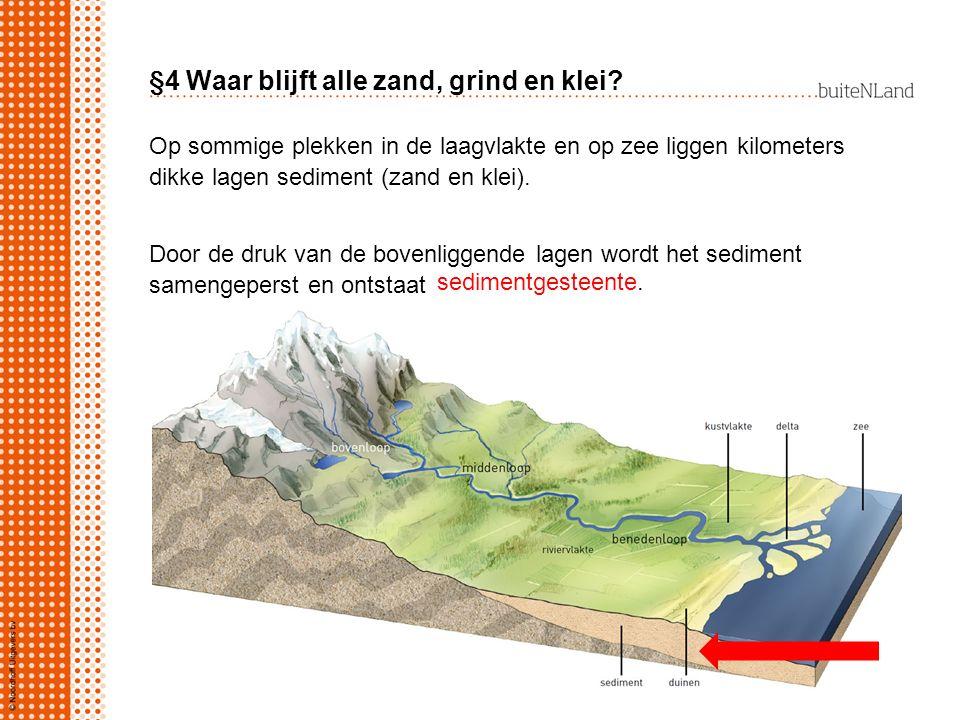 §4 Waar blijft alle zand, grind en klei? Op sommige plekken in de laagvlakte en op zee liggen kilometers dikke lagen sediment (zand en klei). Door de
