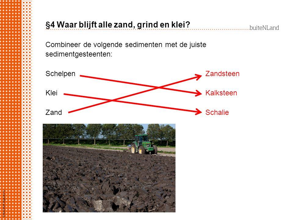 §4 Waar blijft alle zand, grind en klei? Combineer de volgende sedimenten met de juiste sedimentgesteenten: SchelpenZandsteen KleiKalksteen ZandSchali