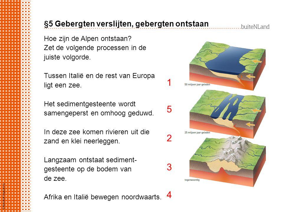 §5 Gebergten verslijten, gebergten ontstaan Hoe zijn de Alpen ontstaan? Zet de volgende processen in de juiste volgorde. Tussen Italië en de rest van