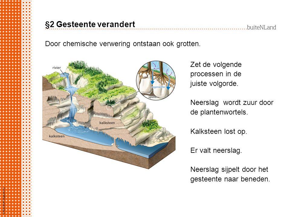 §2 Gesteente verandert Door chemische verwering ontstaan ook grotten. Zet de volgende processen in de juiste volgorde. Neerslag wordt zuur door de pla