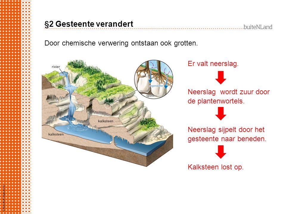 §2 Gesteente verandert Er valt neerslag. Neerslag wordt zuur door de plantenwortels. Neerslag sijpelt door het gesteente naar beneden. Kalksteen lost