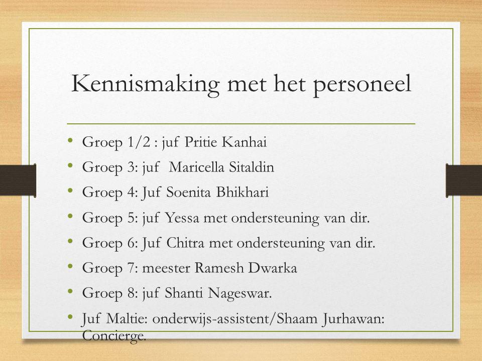 Kennismaking met het personeel Groep 1/2 : juf Pritie Kanhai Groep 3: juf Maricella Sitaldin Groep 4: Juf Soenita Bhikhari Groep 5: juf Yessa met ondersteuning van dir.