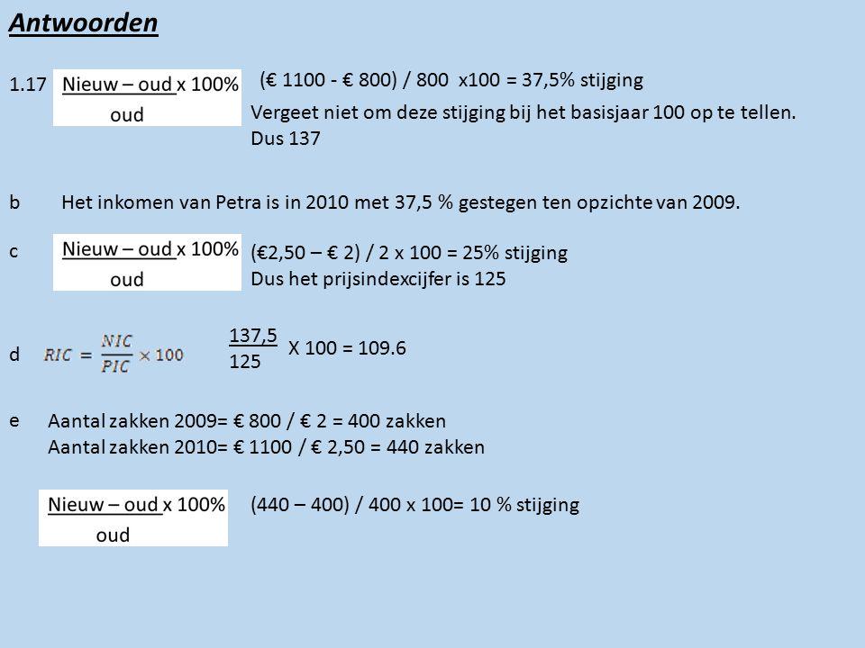 Antwoorden 1.17 (€ 1100 - € 800) / 800 x100 = 37,5% stijging Vergeet niet om deze stijging bij het basisjaar 100 op te tellen.