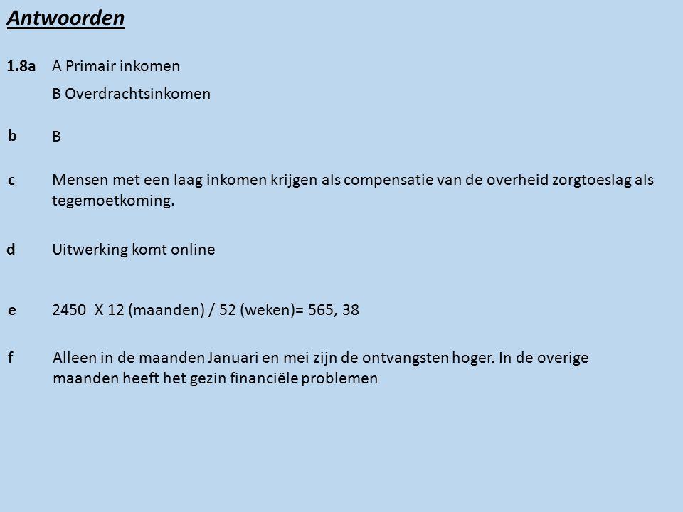 Antwoorden 1.8a A Primair inkomen B Overdrachtsinkomen b B cMensen met een laag inkomen krijgen als compensatie van de overheid zorgtoeslag als tegemoetkoming.