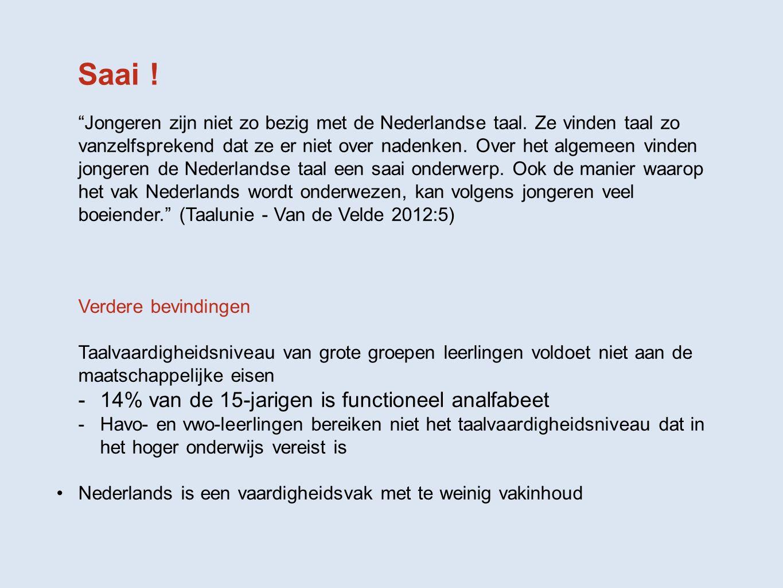 """Saai ! """"Jongeren zijn niet zo bezig met de Nederlandse taal. Ze vinden taal zo vanzelfsprekend dat ze er niet over nadenken. Over het algemeen vinden"""