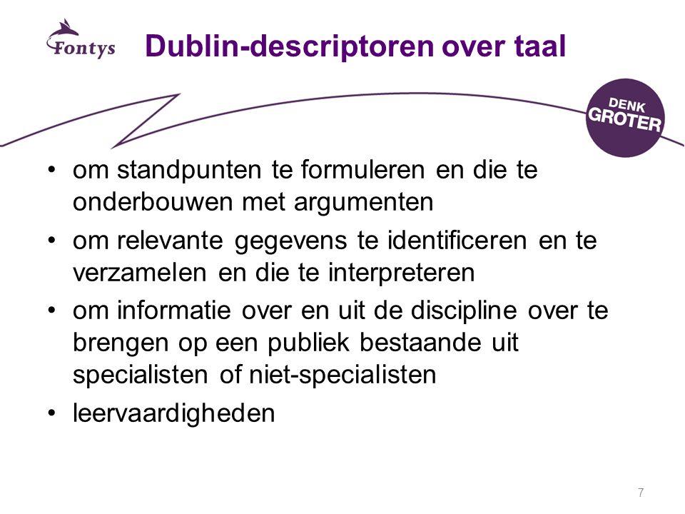 7 Dublin-descriptoren over taal om standpunten te formuleren en die te onderbouwen met argumenten om relevante gegevens te identificeren en te verzamelen en die te interpreteren om informatie over en uit de discipline over te brengen op een publiek bestaande uit specialisten of niet-specialisten leervaardigheden