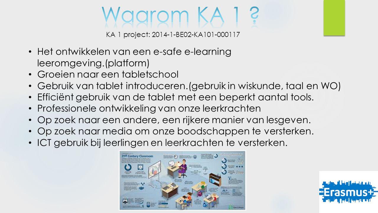 KA 1 project: 2014-1-BE02-KA101-000117 Het ontwikkelen van een e-safe e-learning leeromgeving.(platform) Groeien naar een tabletschool Gebruik van tablet introduceren.(gebruik in wiskunde, taal en WO) Efficiënt gebruik van de tablet met een beperkt aantal tools.