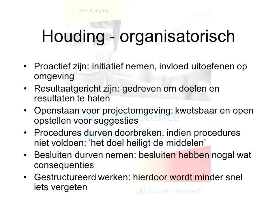 Houding - organisatorisch Proactief zijn: initiatief nemen, invloed uitoefenen op omgeving Resultaatgericht zijn: gedreven om doelen en resultaten te