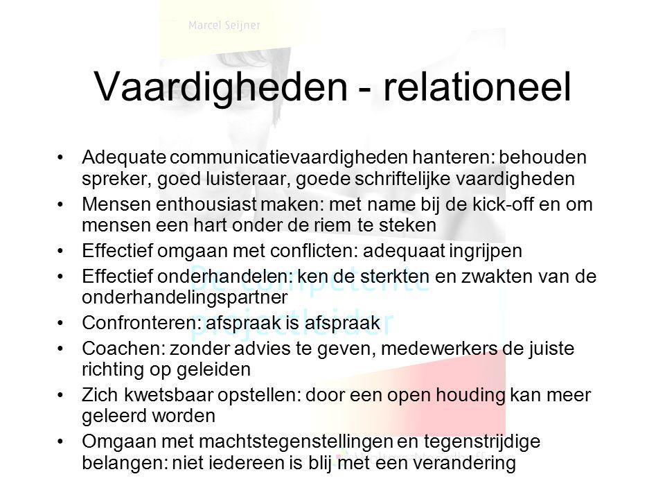 Vaardigheden - relationeel Adequate communicatievaardigheden hanteren: behouden spreker, goed luisteraar, goede schriftelijke vaardigheden Mensen enth