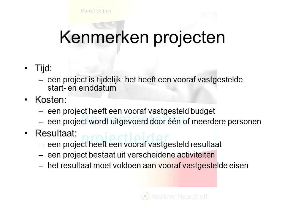 Kenmerken projecten Tijd: –een project is tijdelijk: het heeft een vooraf vastgestelde start- en einddatum Kosten: –een project heeft een vooraf vastg