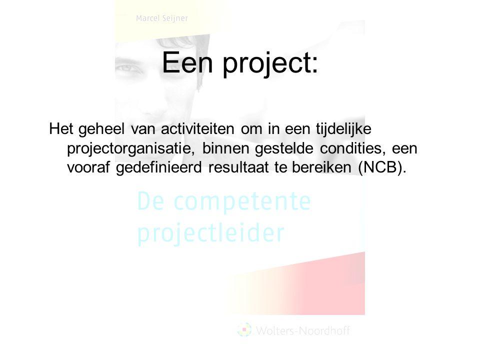 Een project: Het geheel van activiteiten om in een tijdelijke projectorganisatie, binnen gestelde condities, een vooraf gedefinieerd resultaat te bere