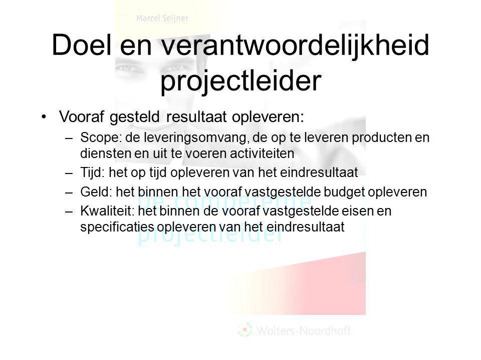 Doel en verantwoordelijkheid projectleider Vooraf gesteld resultaat opleveren: –Scope: de leveringsomvang, de op te leveren producten en diensten en u