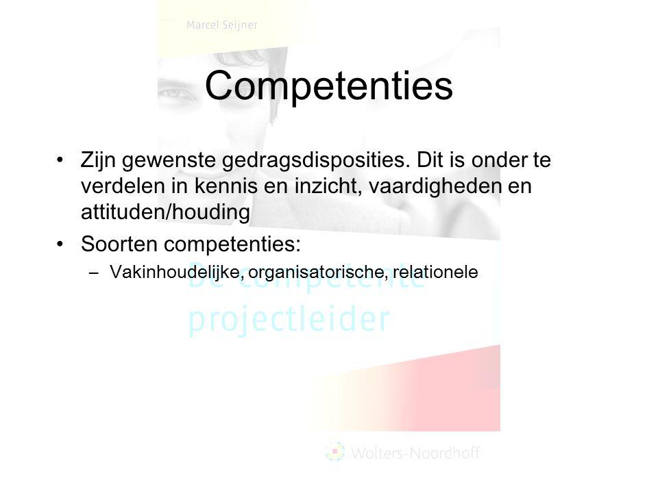 Competenties Zijn gewenste gedragsdisposities. Dit is onder te verdelen in kennis en inzicht, vaardigheden en attituden/houding Soorten competenties: