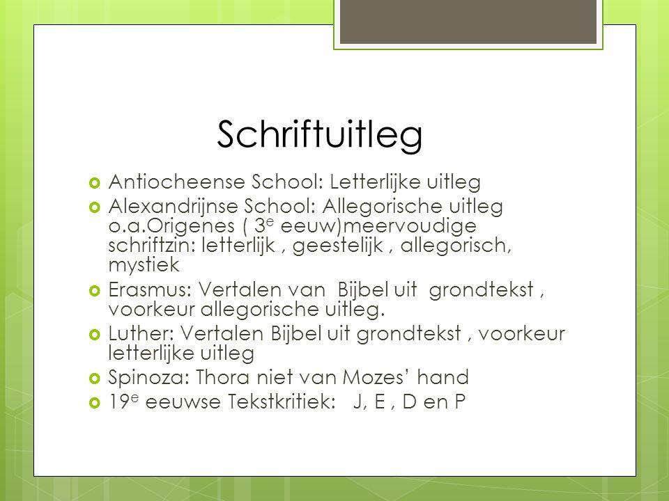 Schriftuitleg  Antiocheense School: Letterlijke uitleg  Alexandrijnse School: Allegorische uitleg o.a.Origenes ( 3 e eeuw)meervoudige schriftzin: le