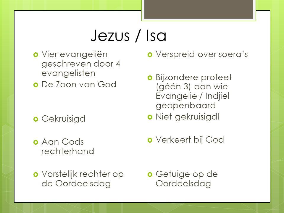 Jezus / Isa  Vier evangeliën geschreven door 4 evangelisten  De Zoon van God  Gekruisigd  Aan Gods rechterhand  Vorstelijk rechter op de Oordeels