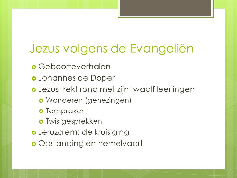 Jezus volgens de Evangeliën  Geboorteverhalen  Johannes de Doper  Jezus trekt rond met zijn twaalf leerlingen  Wonderen (genezingen)  Toespraken