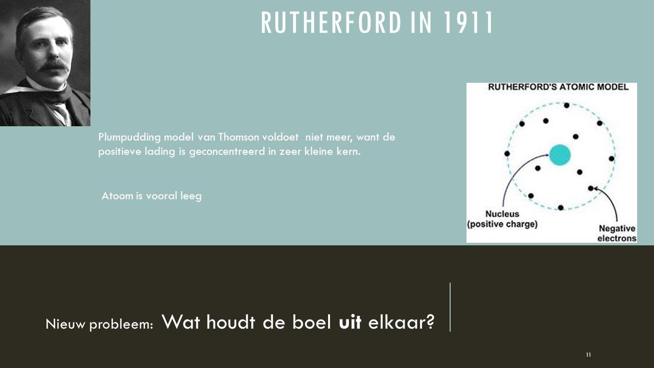 RUTHERFORD IN 1911 Nieuw probleem: Wat houdt de boel uit elkaar? 11 Plumpudding model van Thomson voldoet niet meer, want de positieve lading is gecon