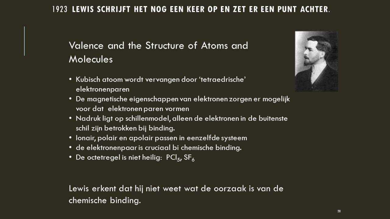 1923 LEWIS SCHRIJFT HET NOG EEN KEER OP EN ZET ER EEN PUNT ACHTER. Kubisch atoom wordt vervangen door 'tetraedrische' elektronenparen De magnetische e