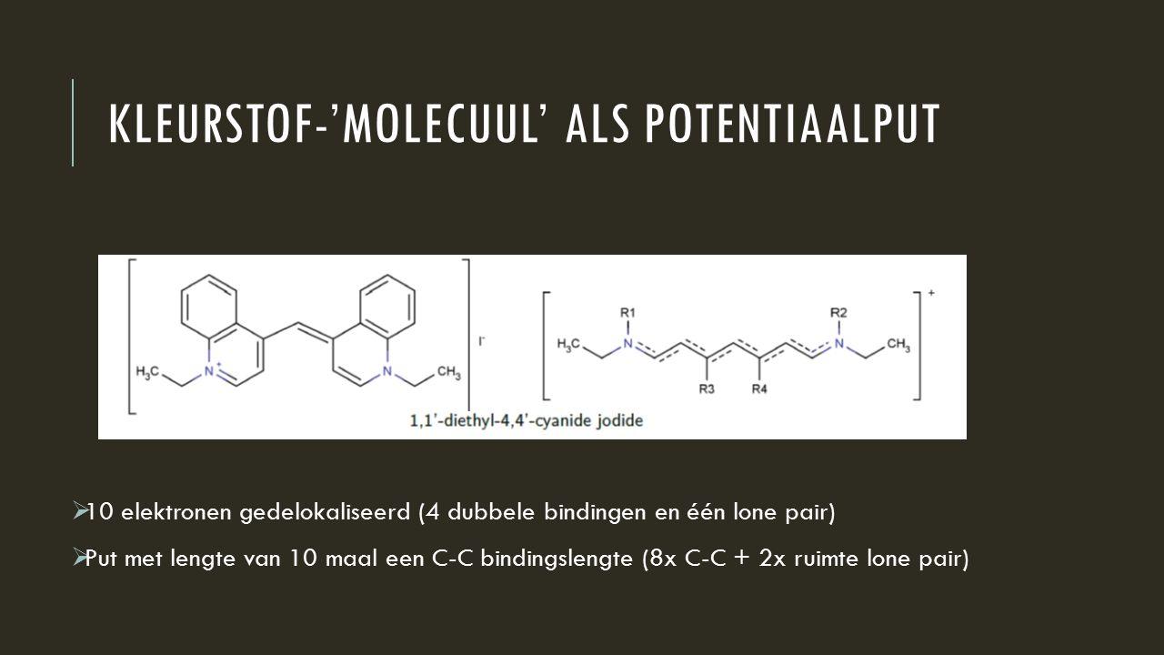 KLEURSTOF-'MOLECUUL' ALS POTENTIAALPUT  10 elektronen gedelokaliseerd (4 dubbele bindingen en één lone pair)  Put met lengte van 10 maal een C-C bin