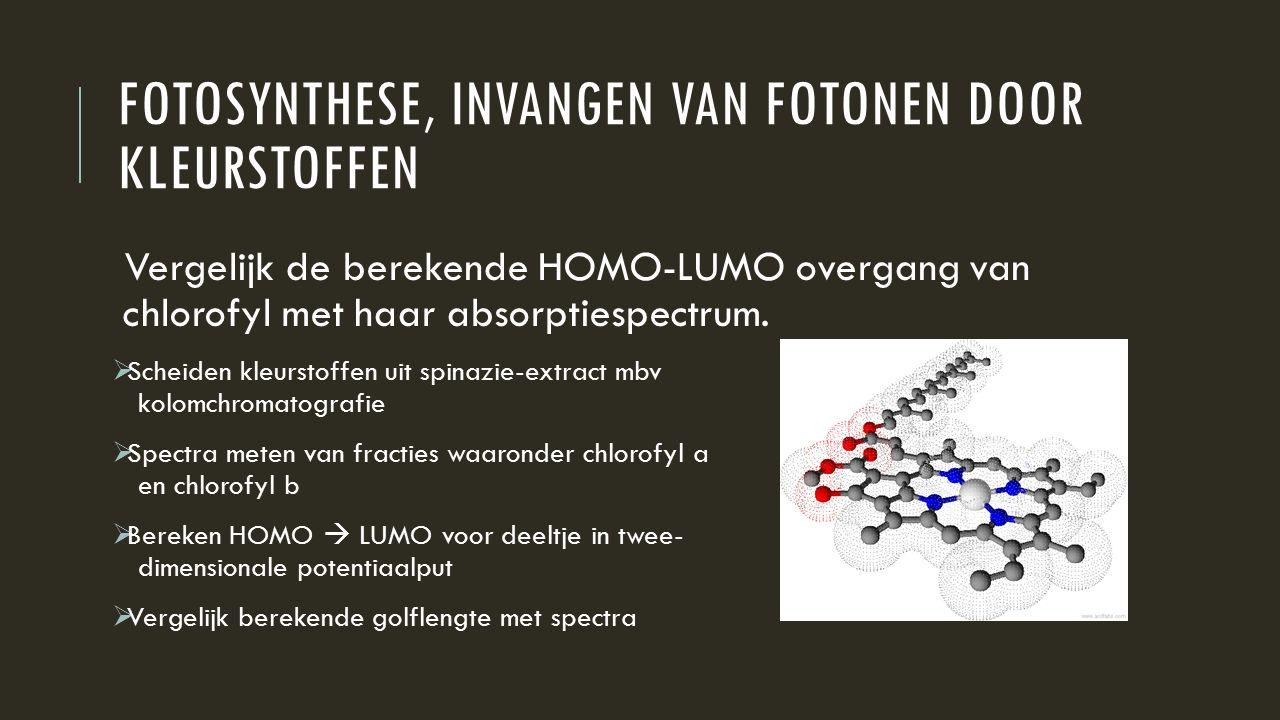 FOTOSYNTHESE, INVANGEN VAN FOTONEN DOOR KLEURSTOFFEN Vergelijk de berekende HOMO-LUMO overgang van chlorofyl met haar absorptiespectrum.  Scheiden kl