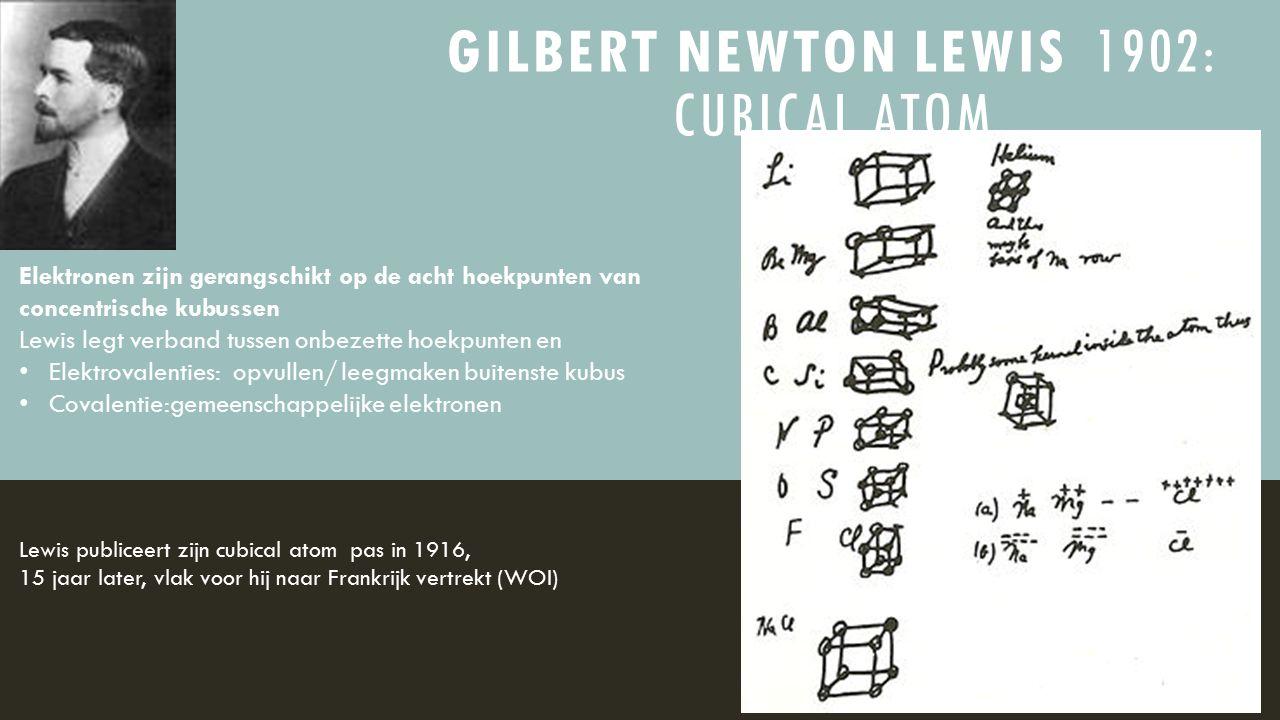 GILBERT NEWTON LEWIS 1902: CUBICAL ATOM Elektronen zijn gerangschikt op de acht hoekpunten van concentrische kubussen Lewis legt verband tussen onbeze