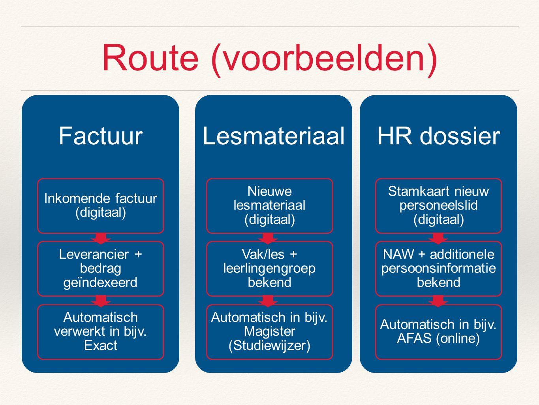 Route (voorbeelden) Factuur Inkomende factuur (digitaal) Leverancier + bedrag geïndexeerd Automatisch verwerkt in bijv. Exact Lesmateriaal Nieuwe lesm