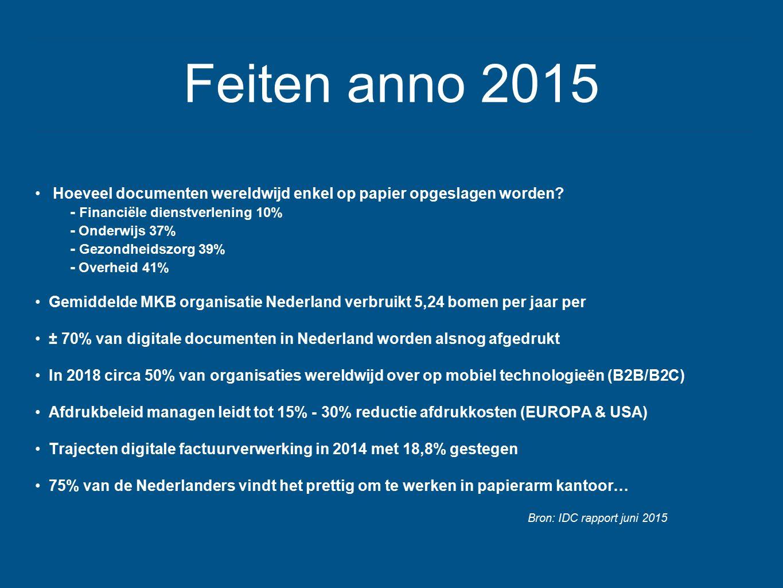 Feiten anno 2015 Hoeveel documenten wereldwijd enkel op papier opgeslagen worden? - Financiële dienstverlening 10% - Onderwijs 37% - Gezondheidszorg 3