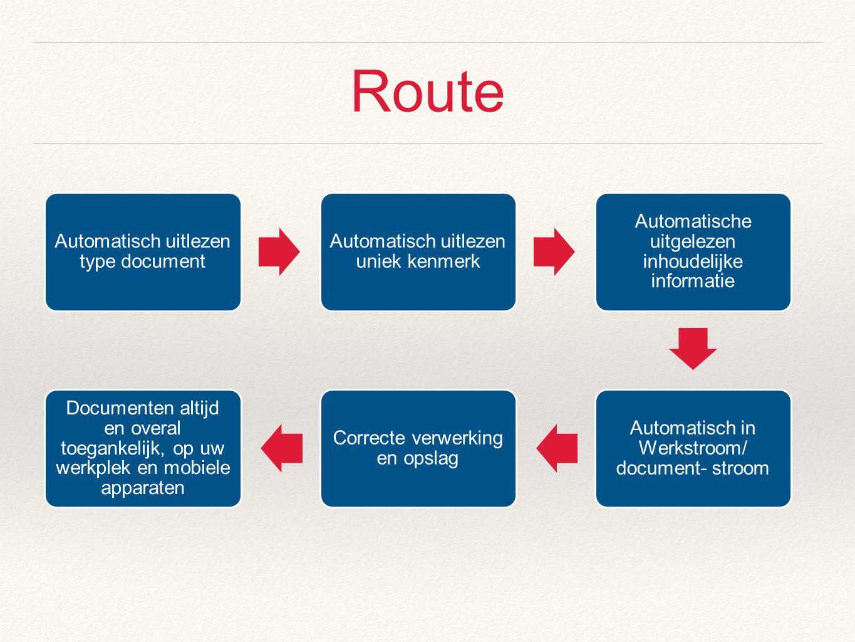 Route Automatisch uitlezen type document Automatisch uitlezen uniek kenmerk Automatische uitgelezen inhoudelijke informatie Automatisch in Werkstroom/ document- stroom Correcte verwerking en opslag Documenten altijd en overal toegankelijk, op uw werkplek en mobiele apparaten