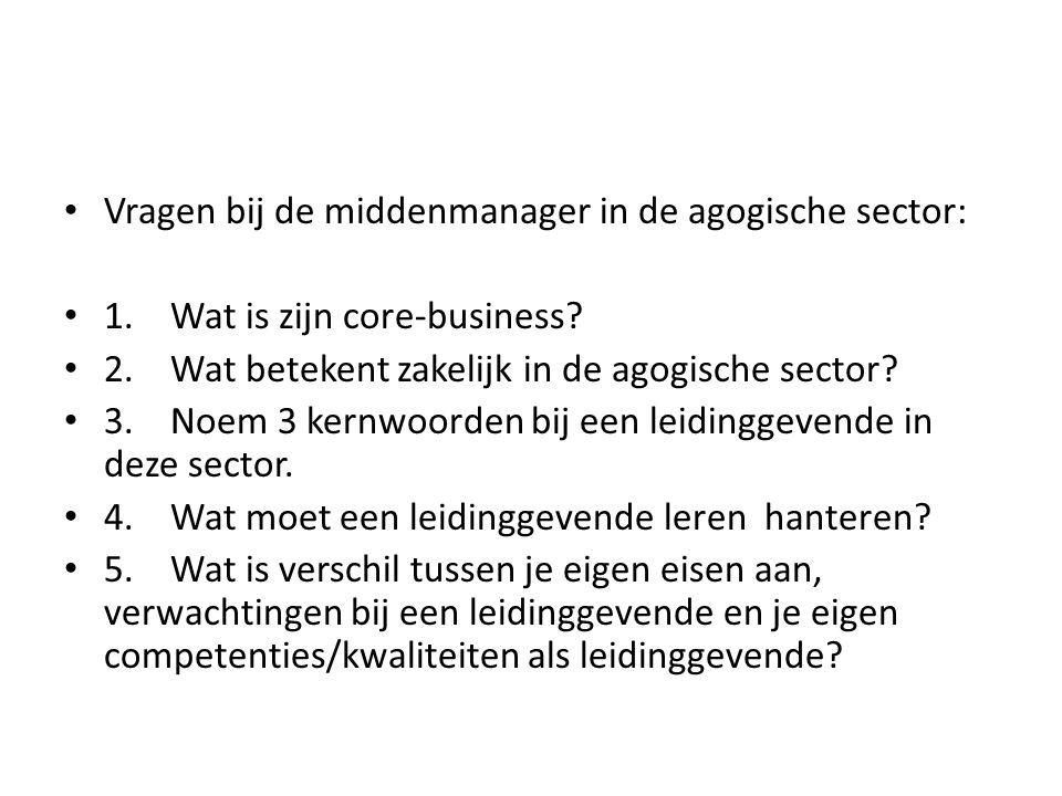 Vragen bij de middenmanager in de agogische sector: 1.Wat is zijn core-business? 2.Wat betekent zakelijk in de agogische sector? 3.Noem 3 kernwoorden