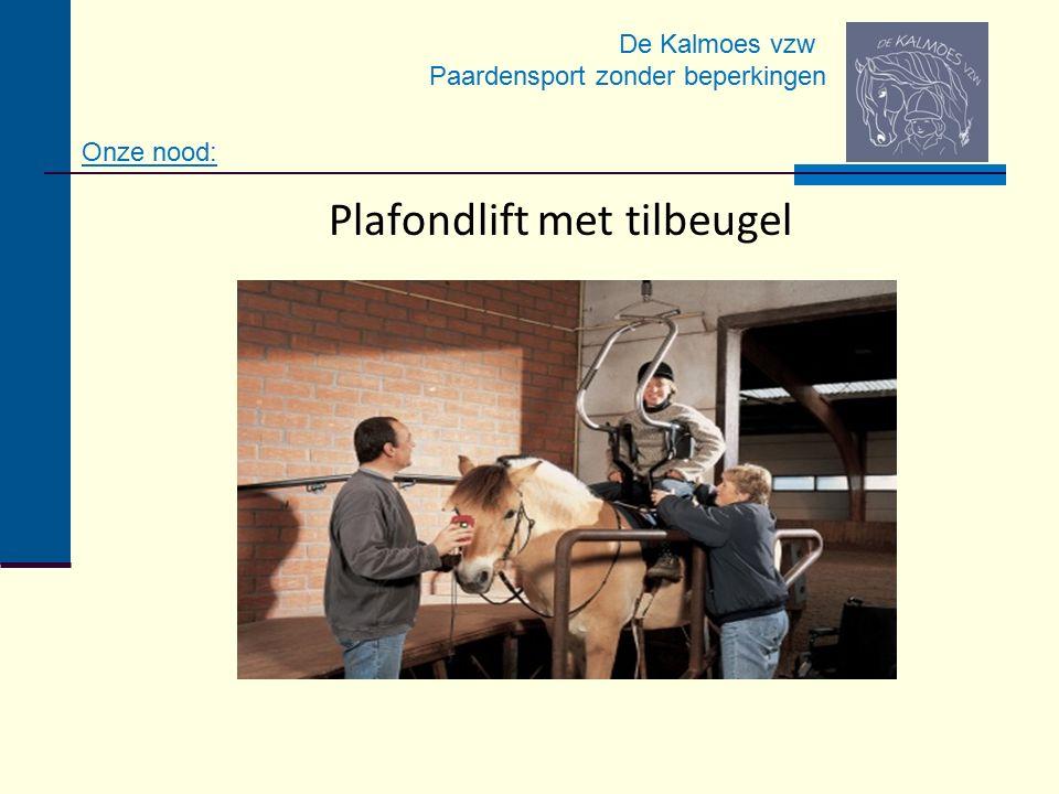 De Kalmoes vzw Paardensport zonder beperkingen Plafondlift met tilbeugel Onze nood: