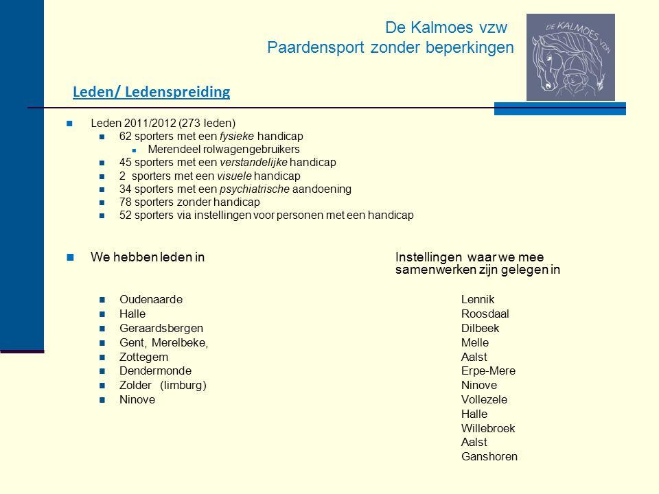De Kalmoes vzw Paardensport zonder beperkingen Leden/ Ledenspreiding Leden 2011/2012 (273 leden) 62 sporters met een fysieke handicap Merendeel rolwag