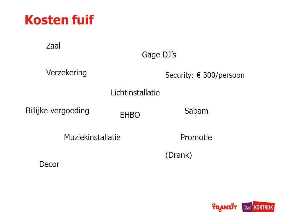 Kosten fuif Zaal Gage DJ's Verzekering Muziekinstallatie Security: € 300/persoon Lichtinstallatie Promotie Decor (Drank) Sabam Billijke vergoeding EHB