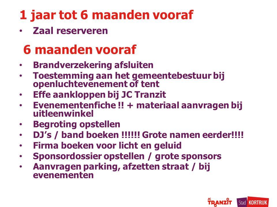 Zaal reserveren 1 jaar tot 6 maanden vooraf 6 maanden vooraf Brandverzekering afsluiten Toestemming aan het gemeentebestuur bij openluchtevenement of