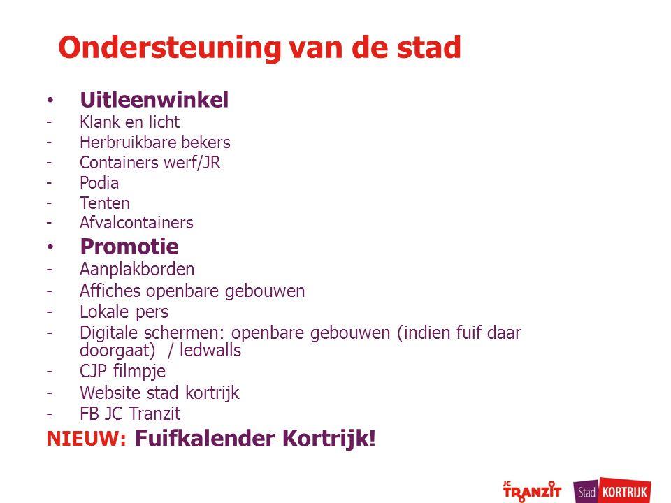 Ondersteuning van de stad Uitleenwinkel -Klank en licht -Herbruikbare bekers -Containers werf/JR -Podia -Tenten -Afvalcontainers Promotie -Aanplakbord