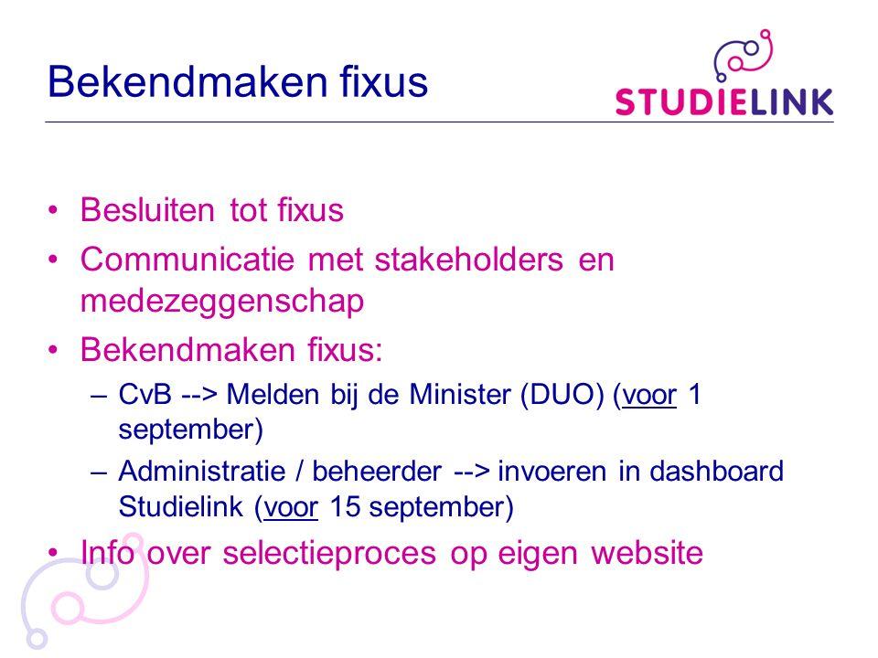 Bekendmaken fixus Besluiten tot fixus Communicatie met stakeholders en medezeggenschap Bekendmaken fixus: –CvB --> Melden bij de Minister (DUO) (voor
