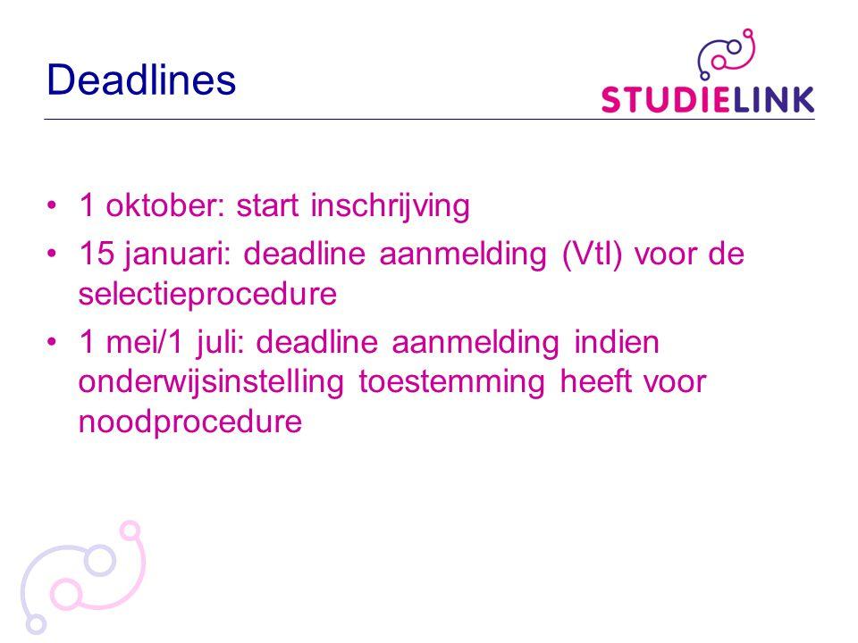 Deadlines 1 oktober: start inschrijving 15 januari: deadline aanmelding (VtI) voor de selectieprocedure 1 mei/1 juli: deadline aanmelding indien onder