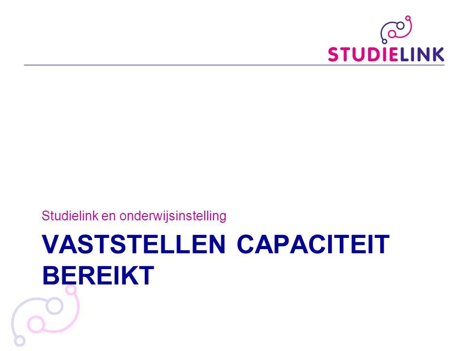 VASTSTELLEN CAPACITEIT BEREIKT Studielink en onderwijsinstelling