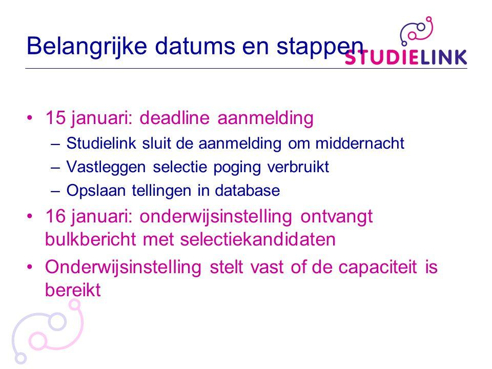 Belangrijke datums en stappen 15 januari: deadline aanmelding –Studielink sluit de aanmelding om middernacht –Vastleggen selectie poging verbruikt –Op