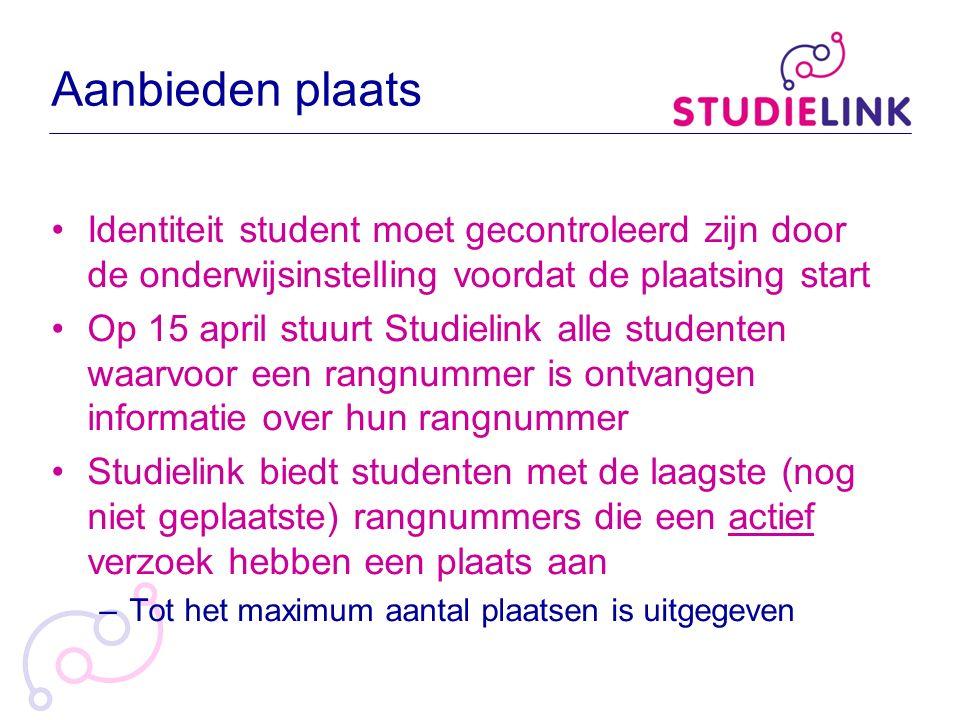 Aanbieden plaats Identiteit student moet gecontroleerd zijn door de onderwijsinstelling voordat de plaatsing start Op 15 april stuurt Studielink alle
