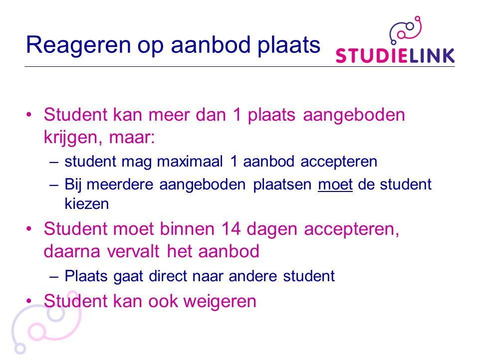 Reageren op aanbod plaats Student kan meer dan 1 plaats aangeboden krijgen, maar: –student mag maximaal 1 aanbod accepteren –Bij meerdere aangeboden p