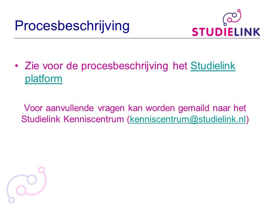Procesbeschrijving Zie voor de procesbeschrijving het Studielink platformStudielink platform Voor aanvullende vragen kan worden gemaild naar het Studi